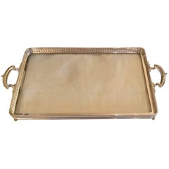 Art Nouveau German Silver Tray with Glass Bottom Koch & Bergfeld
