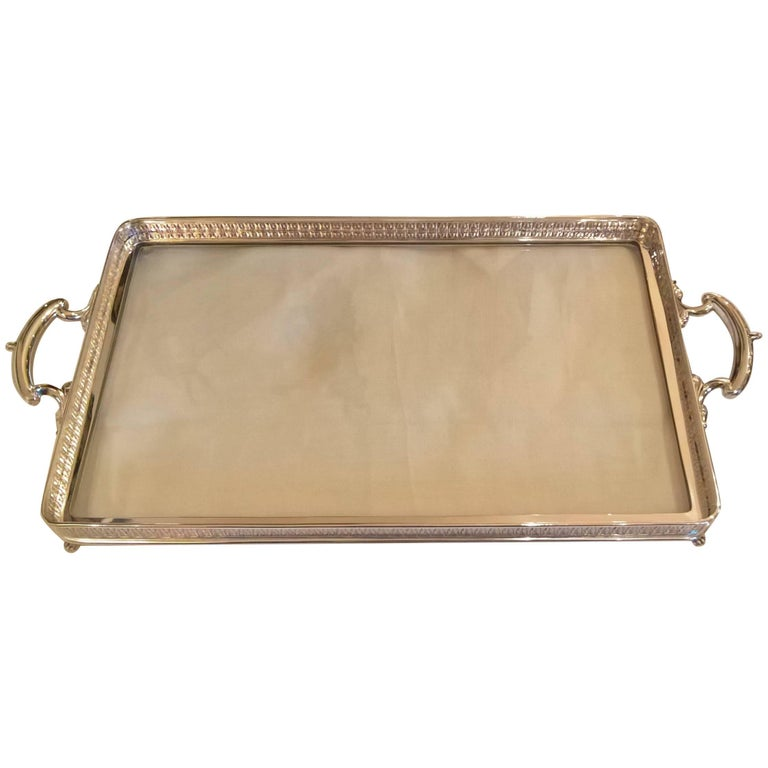 Art Nouveau German Silver Tray with Glass Bottom Koch & Bergfeld For Sale