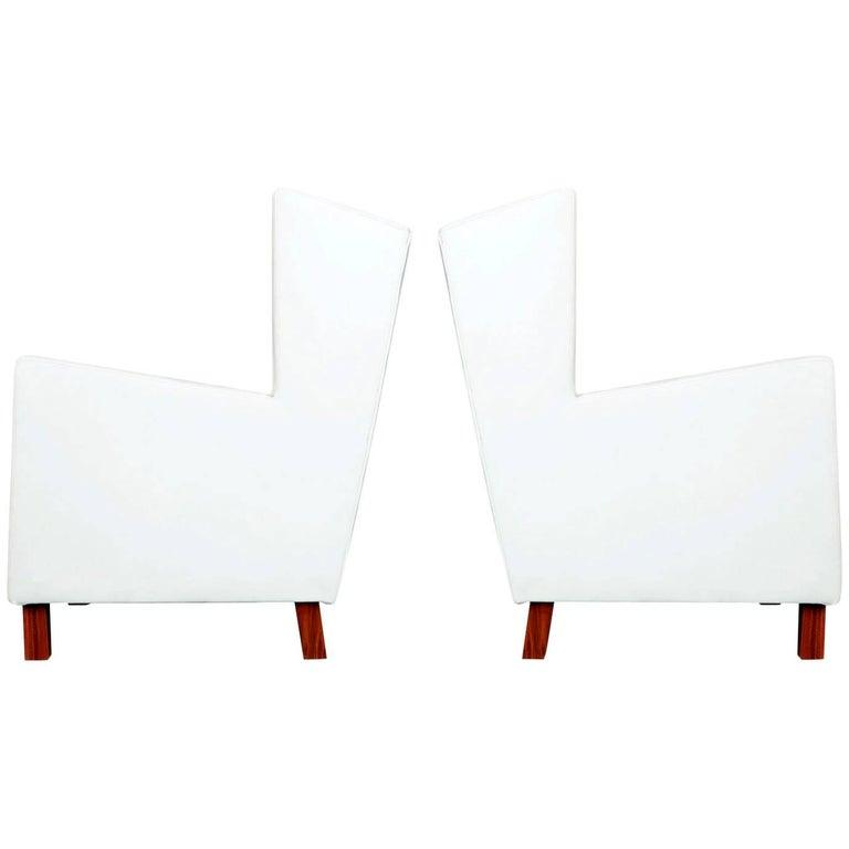 Jacaranda and White Leather Wingback Armchairs, Brazil, circa 1960
