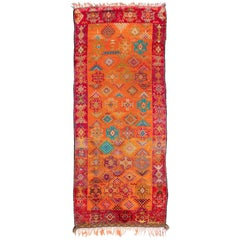 Vintage Moroccan Rug in Orange and Ruby