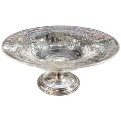 Signed Hawkes Cut Glass and Sterling Silver Center Bowl