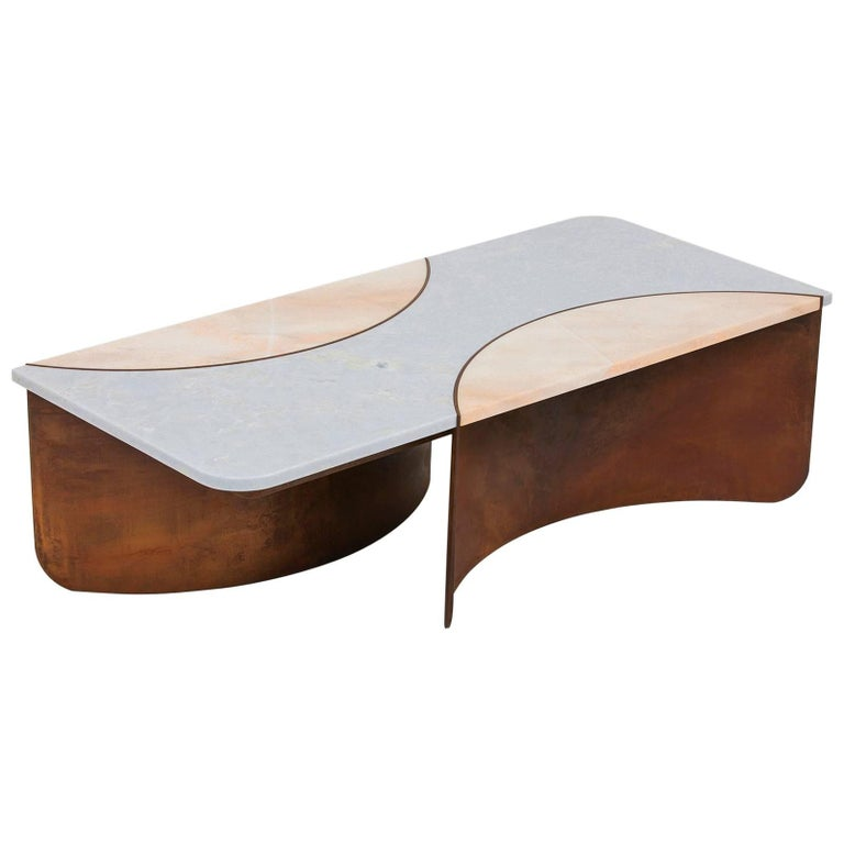 Crescent Table in Contemporary Oxidized Steel with Blue and Pink Marble Insets For Sale