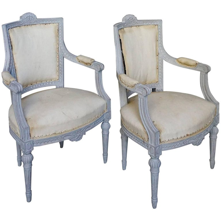 Pair of Swedish Armchairs with Gustavian Style Carving