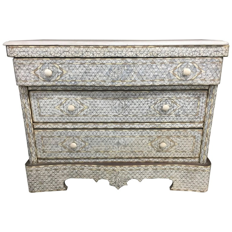 """Adriana"" Syrian Mother-of-Pearl Dresser with Three Drawers Haskell Finds"