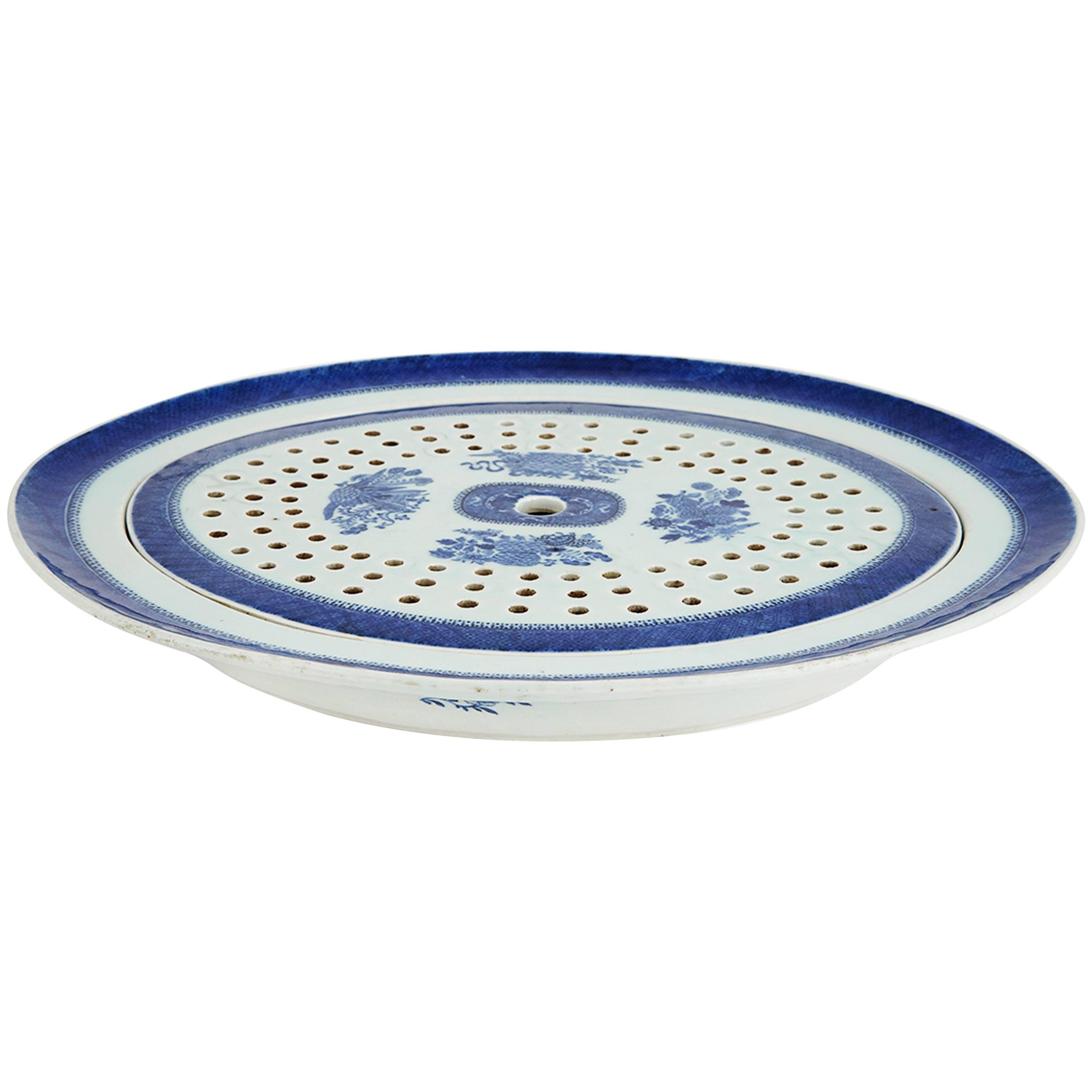 Chinese Export Porcelain Blue Fitzhugh Oval Platter and Mazarin