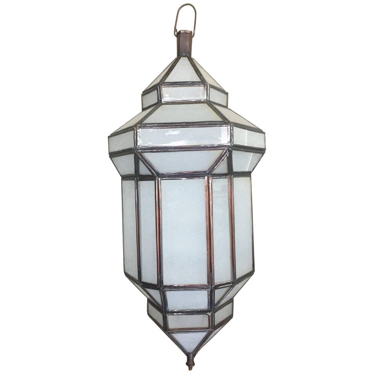 """Jaime"" Small Milk Glass Moroccan Lantern"