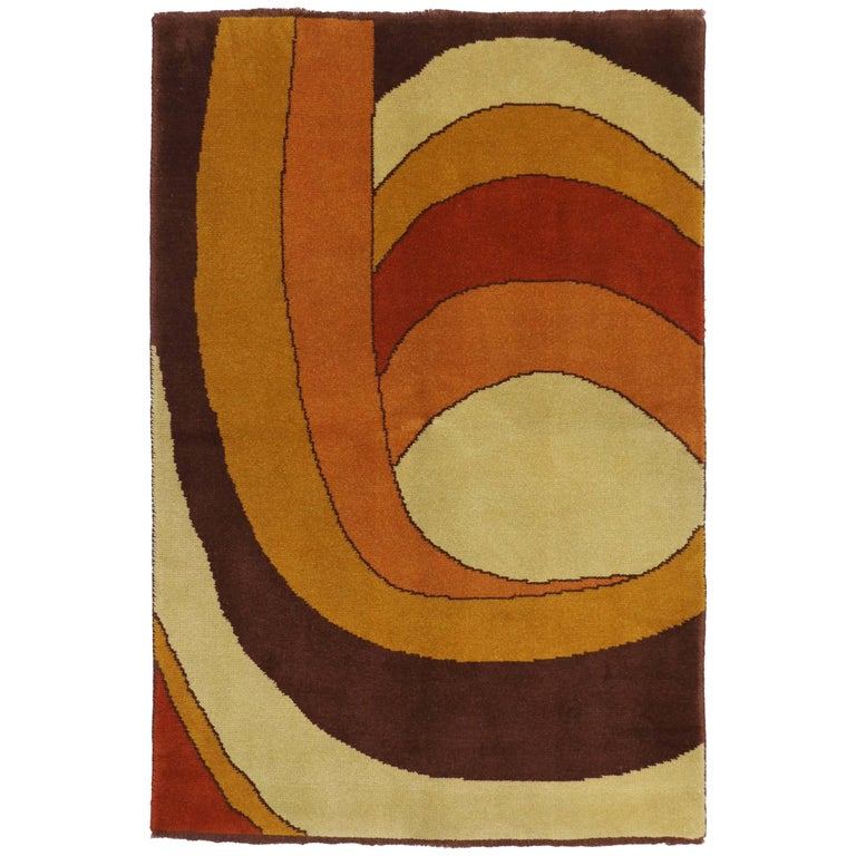 Vintage Swedish Rug with Mid-Century Modern Style