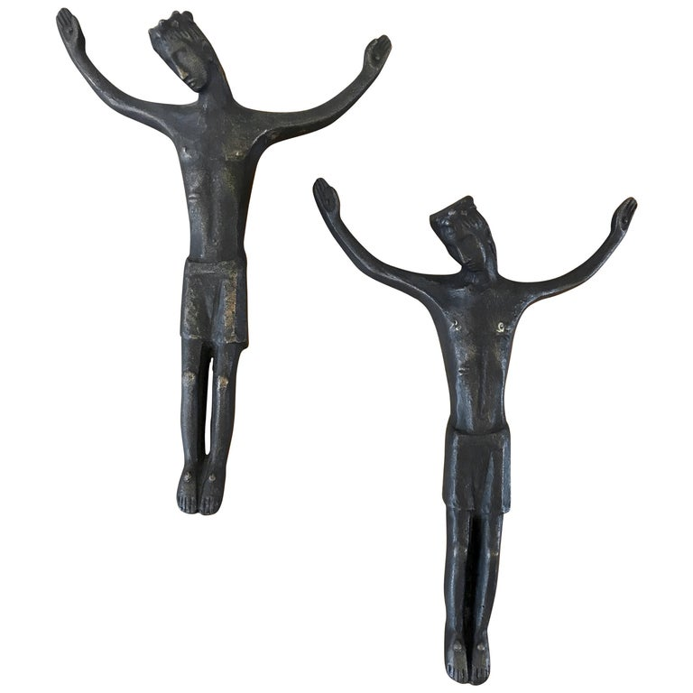 Midcentury Brutalist Bronze Crucifix Figure, West Germany