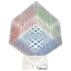 Victor Vasarely Op Art Graphic Lucite Cube Sculpture / SAT. SALE