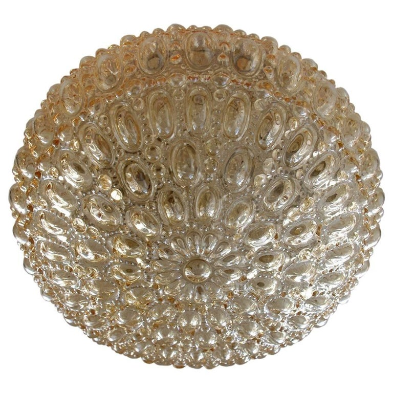 Amber Bubble Glass Ceiling or Wall Flush Mount by Limburg, 1960s