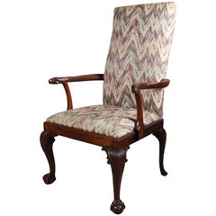 Antique Carved Mahogany Figural Chippendale Lolling Armchair with Falcons
