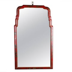 Chinoiserie Hand-Painted and Gilt on Vermillion Red Wall Mirror with Villagers