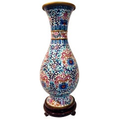 Very Large Cloisonné Vase with Blue Peonies