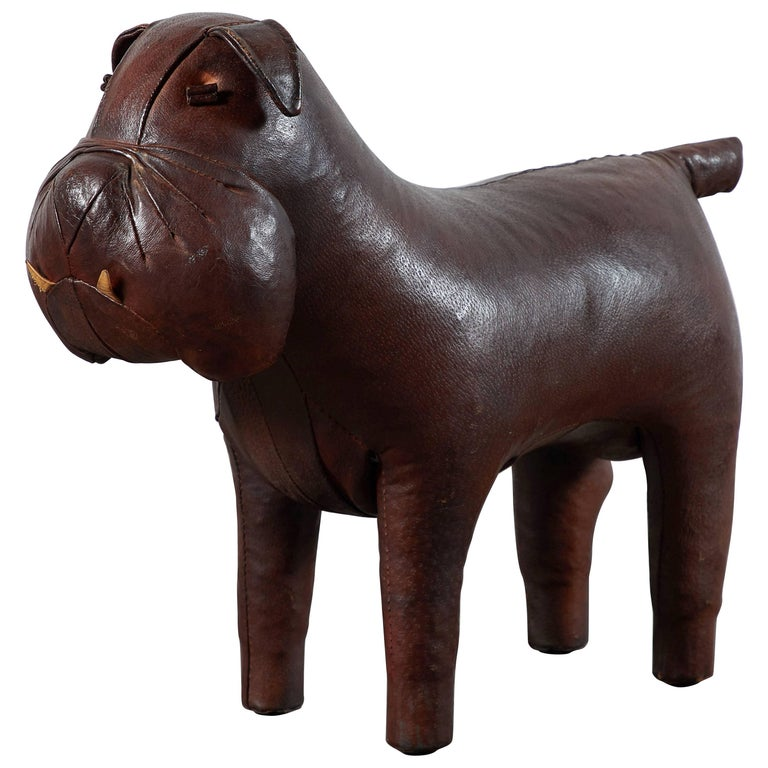 Leather Bulldog Footstool by Dimitri Omersa for Abercrombie & Fitch