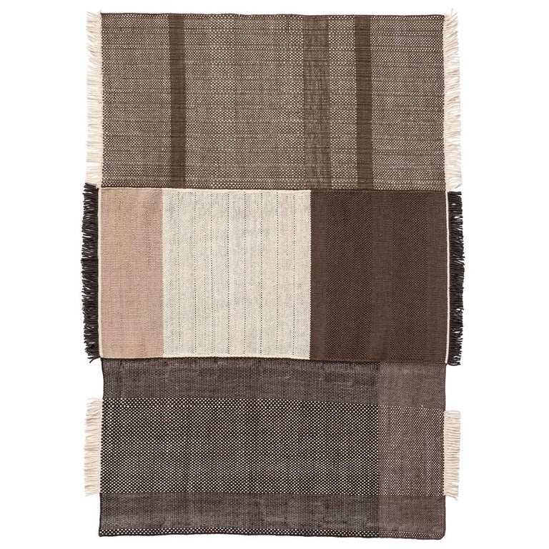 Tres Collection Large Chocolate Hand-Loomed Wool & Felt Rug by Nani Marquina For Sale