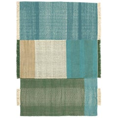 Tres Collection Large Green Hand-Loomed Wool and Felt Rug by Nani Marquina