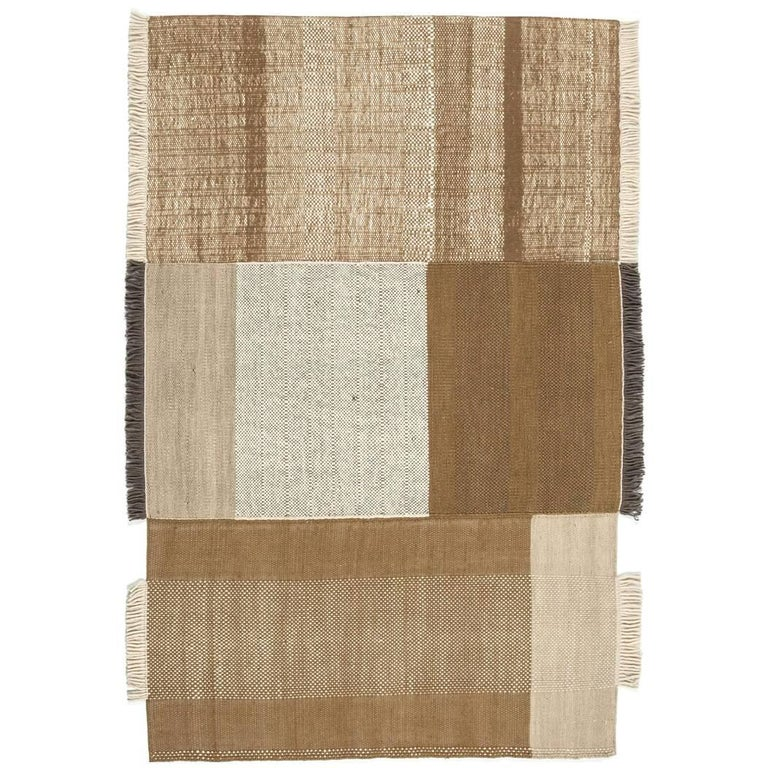 Tres Collection Large Ochre Hand-Loomed Wool and Felt Rug by Nani Marquina