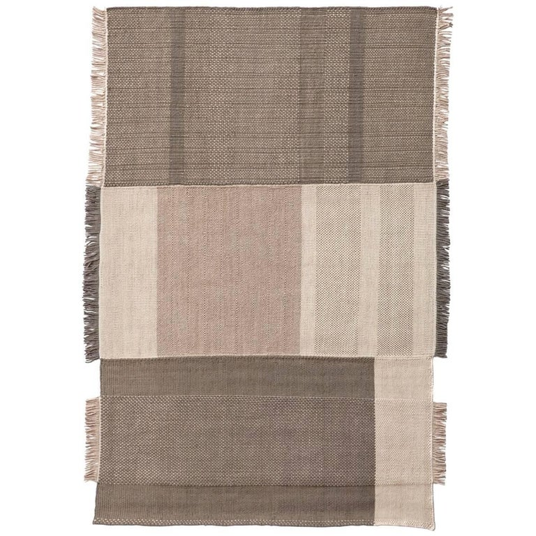 Tres Collection Large Pearl Hand-Loomed Wool and Felt Rug by Nani Marquina