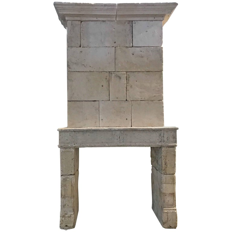 Antique Limestone Mantel with Trumeau, circa 1750