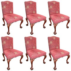 Set of Six Upholstered Mahogany Chippendale Style Ball and Claw Chairs