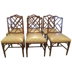 Faux Bamboo Chinese Chippendale Side Dining Chairs by Century Set of Six
