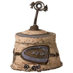 Lidded Ceramic Pot by French Artist Pep Gomez