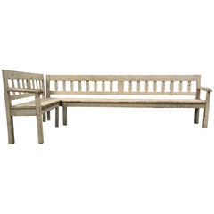 Antique French Painted Sectional Bench