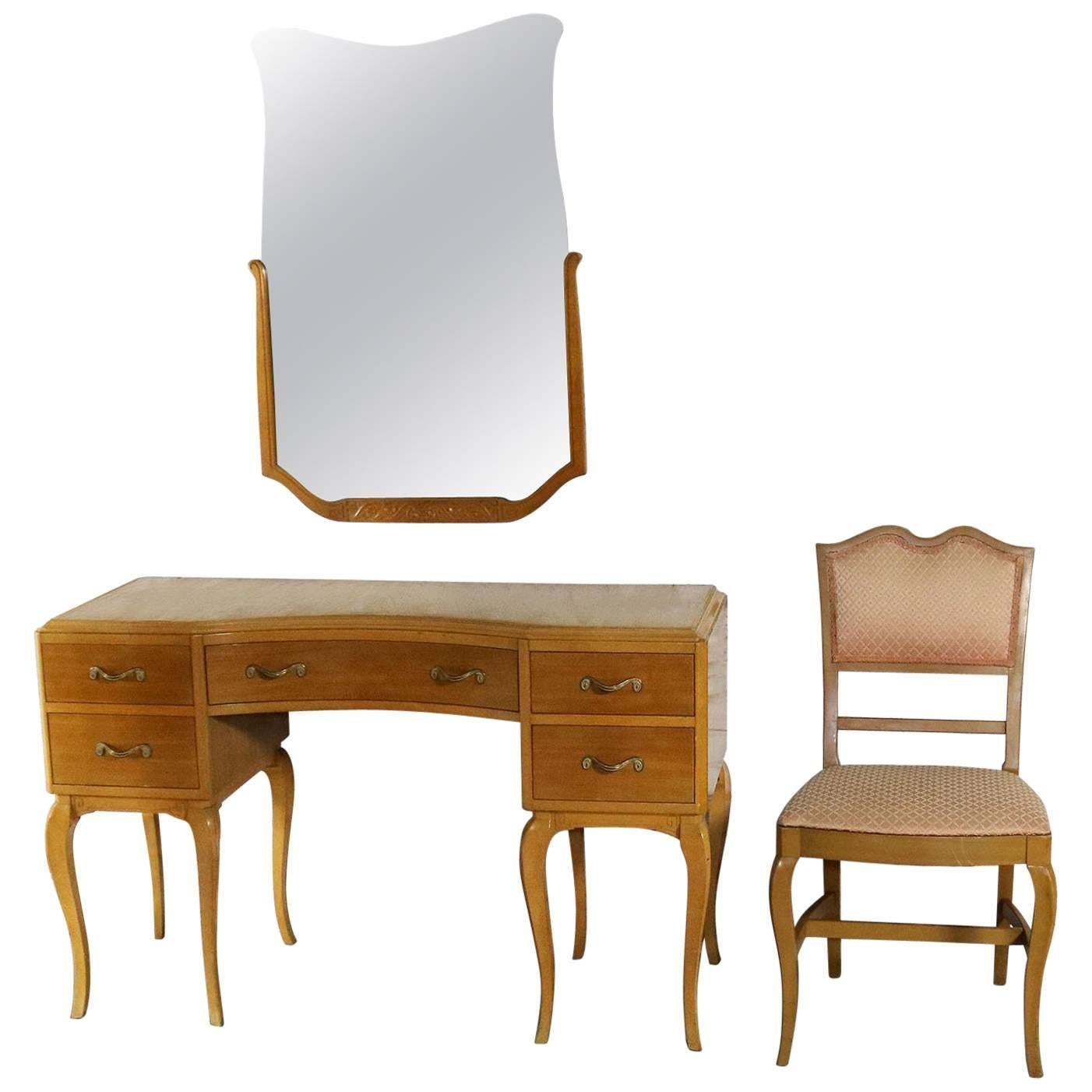 Art Deco Style Vanity Mirror And Chair By Rway Northern Furniture Co.  Sheboygan For Sale
