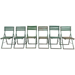 Six Antique French Wood and Metal Folding Chairs
