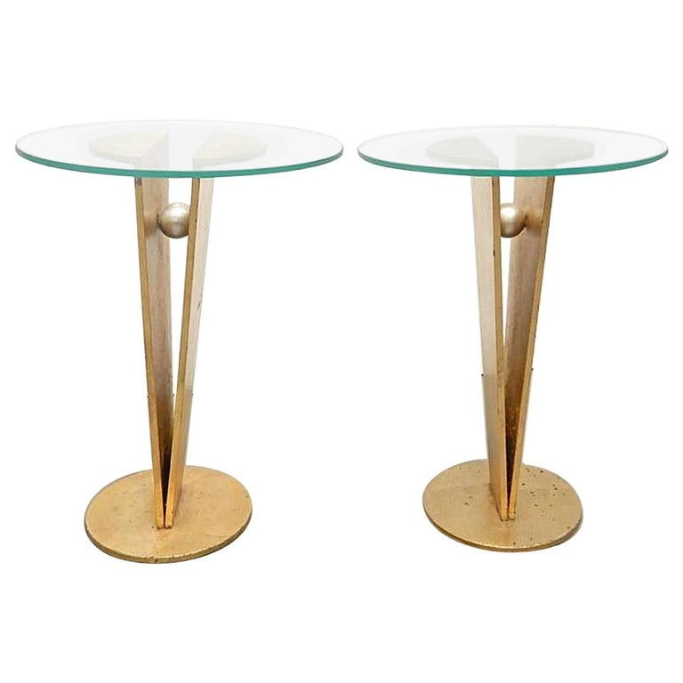 Pair of French Gilded Iron Side Tables, circa 1940s