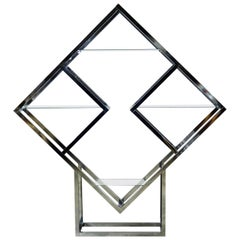 Modernist Geometric Diamond Shaped Chrome Étagère Attributed to Milo Baughman