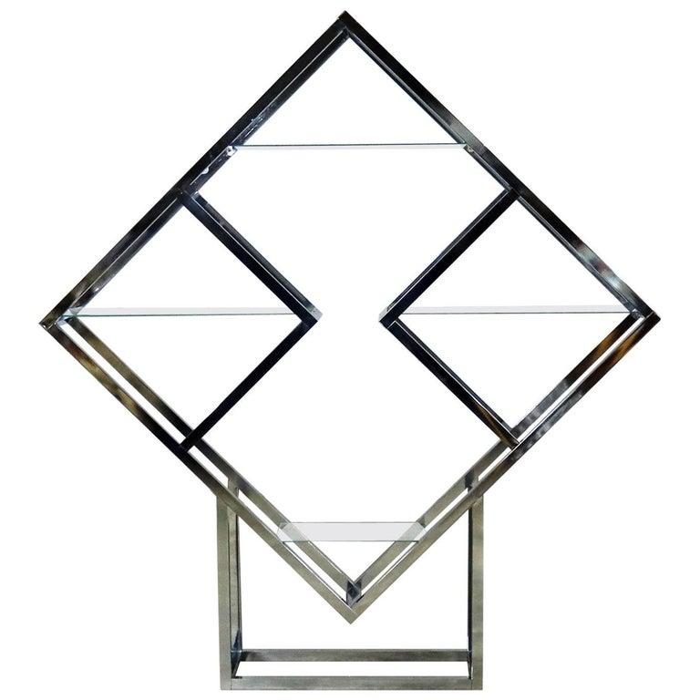 Modernist Geometric Diamond Shaped Chrome Étagère Attributed to Milo Baughman For Sale