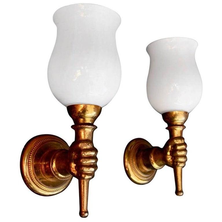 Elegant Pair of Bronze Sconce by Andre Arbus