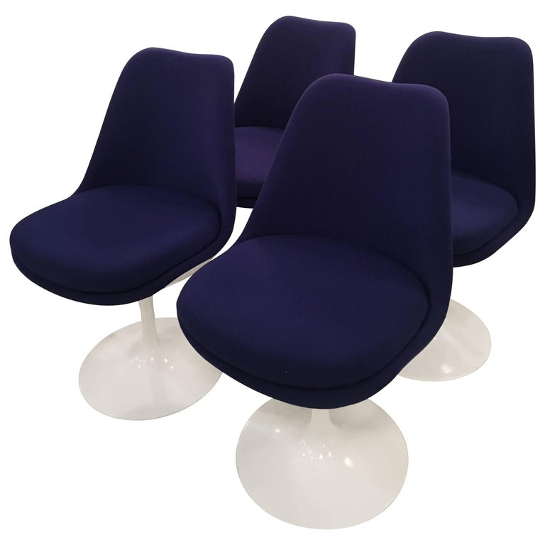Tulip Eero Saarinen by Knoll Swivel Dining Chairs Set of Four