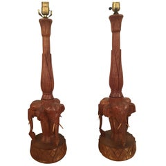Elephant Table Lamps Pair of Wood Hand-Carved Vintage