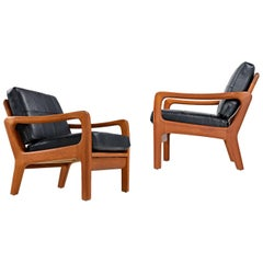 Pair of Juul Kristensen Danish Solid Teak Lounge Chairs in New Black Leather