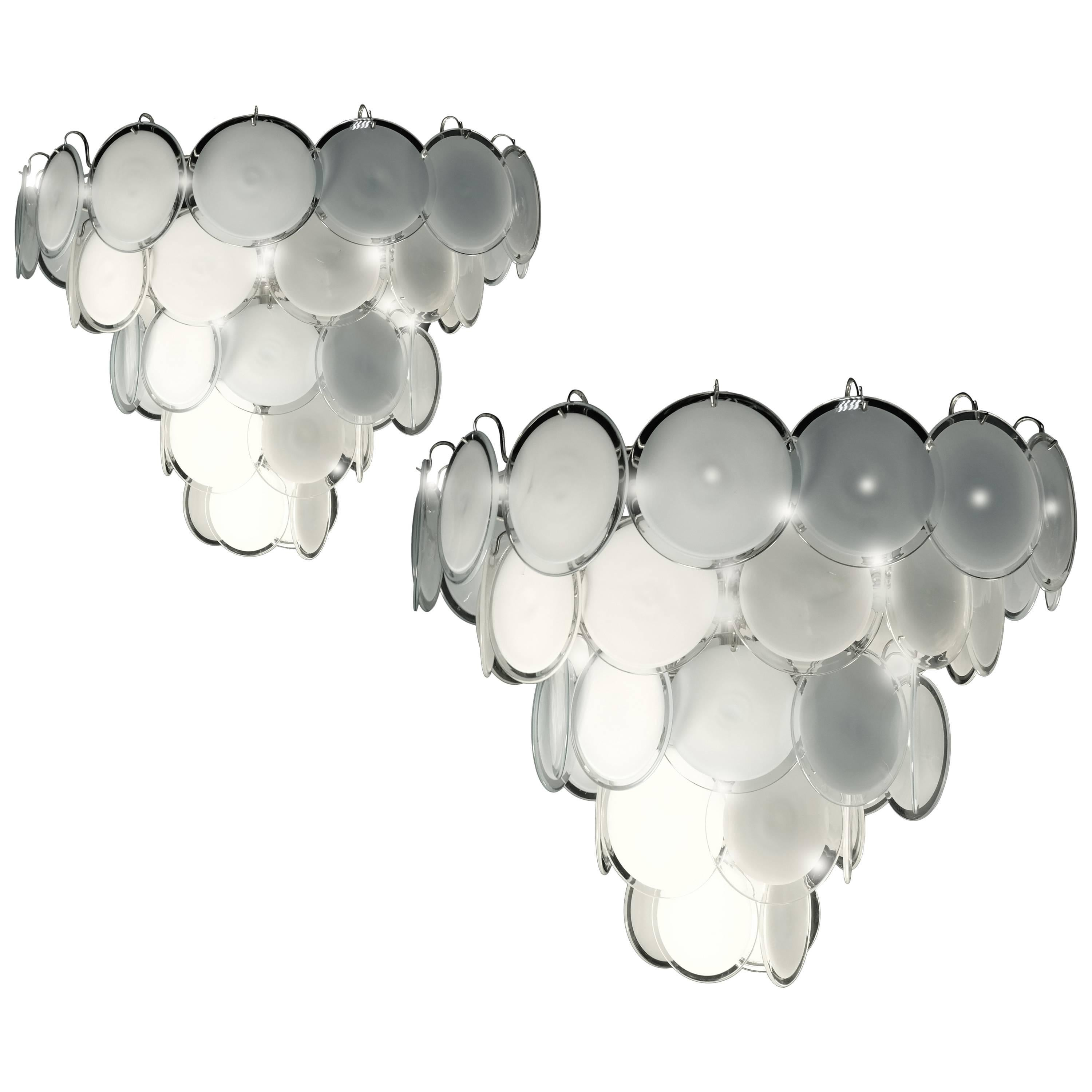 Charming Pair of Murano Disc Chandelier by Vistosi, 1970s