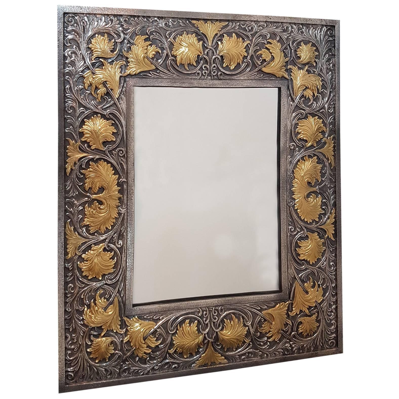 20th Century Italian Sterling Silver Handmade Table Mirror Baroque revival