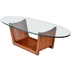 Adrian Pearsall Oval Glass Top Walnut Coffee Table