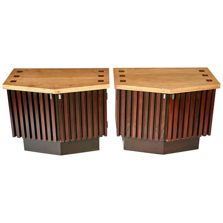 Mid-Century Modern Walnut and Rosewood Nightstands by Lane Furniture Co, 1960s