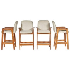 Benny Linden Teak Bar Stools, Set of Four