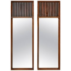 Mid-Century Modern Lane Furniture Walnut and Rosewood Mirrors, Pair