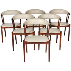 Danish Rosewood and Leather Dining Chairs by Johannes Andersen, 1960s