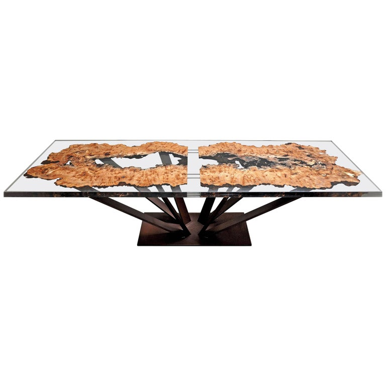 Elm Wood and Resin Dining or Conference Table For Sale