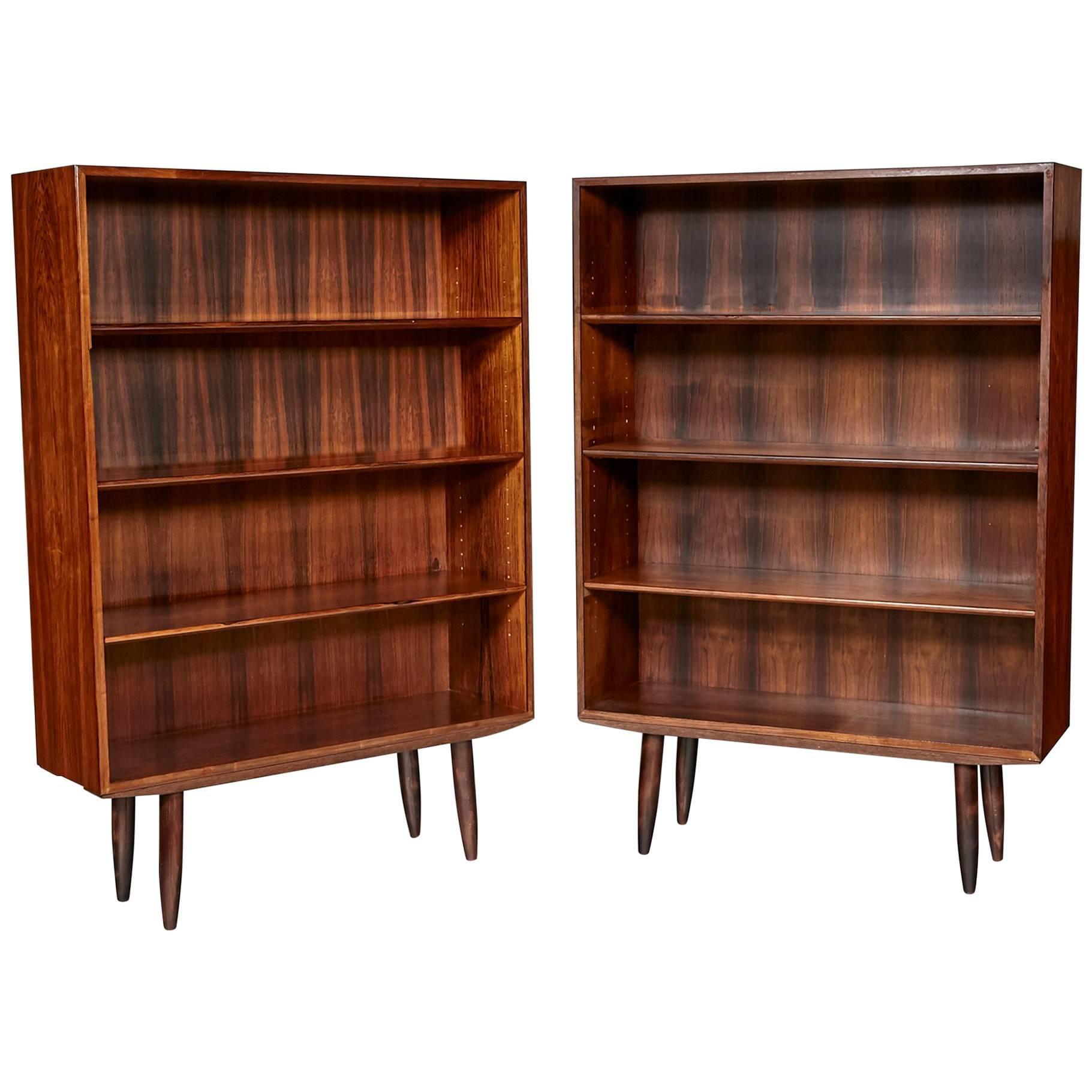 povl dinesen danish rosewood pair of bookcases 1960s