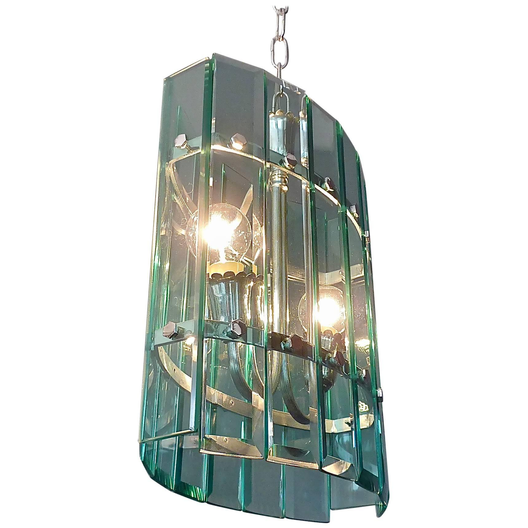 Green Faceted Glass Chrome Metal Chandelier Pietro Chiesa for Fontana Arte 1940s
