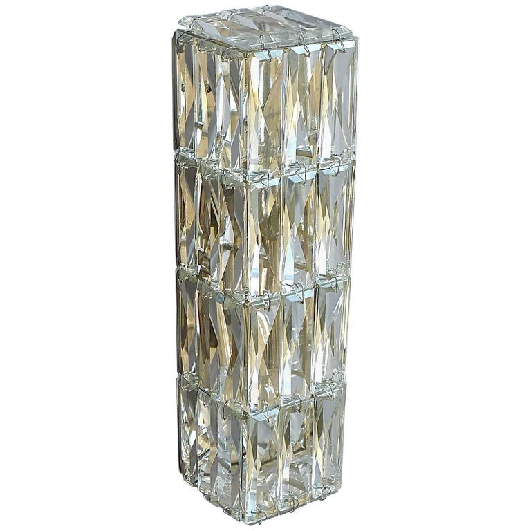 Large Crystal Wall Sconces : Faceted Large Crystal Glass Wall Light or Vanity Sconce by Bakalowits 1950s For Sale at 1stdibs