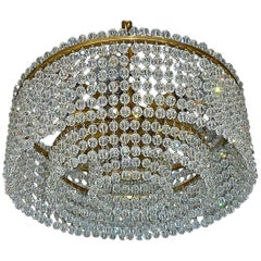 J.L Lobmeyr Chandelier Hand-Cut Faceted Crystal Glass Strings Brass, Austria