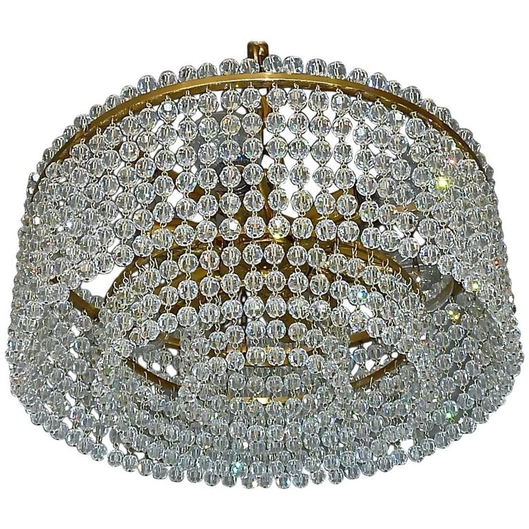J.L Lobmeyr Chandelier Hand-Cut Faceted Crystal Glass Strings Brass, Austria