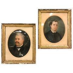 Pair of French Antique Portraits in Gilt Plaster Frames, Late 19th Century